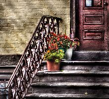 Flower pots on Stairs by Mike  Savad