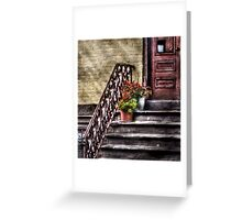 Flower pots on Stairs Greeting Card
