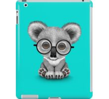 Cute Baby Koala Bear Cub Wearing Glasses on Blue iPad Case/Skin