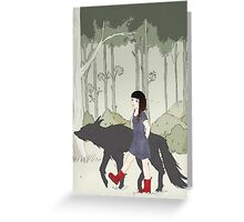 Red Riding Boots And Big Black Wolf Greeting Card