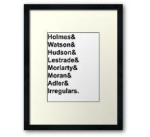 Sherlock Holmes Character List (Black Text) Framed Print