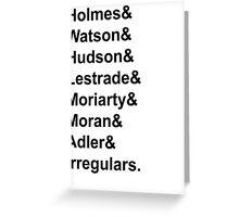 Sherlock Holmes Character List (Black Text) Greeting Card