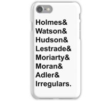 Sherlock Holmes Character List (Black Text) iPhone Case/Skin
