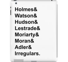 Sherlock Holmes Character List (Black Text) iPad Case/Skin