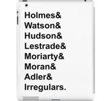 Sherlock Holmes Character List (Black Text) iPad Case/Skin