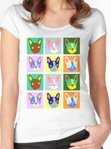 Boston Terrier Pop Art Women's Fitted Scoop T-Shirt