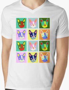 Boston Terrier Pop Art Mens V-Neck T-Shirt