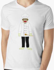 Sock Monkey Chef Mens V-Neck T-Shirt