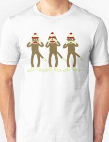 Hear, See, Speak No Evil Sock Monkeys Unisex T-Shirt