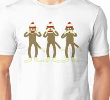 Hear, See, Speak No Evil Sock Monkeys Unisex T-Shirt