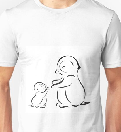 Outline drawing of penguin family mom and baby Unisex T-Shirt