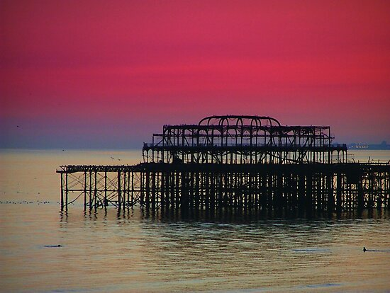 Sunset over Brighton Pier by Dmarie Becker