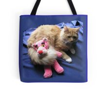 Cat with Toy Tote Bag