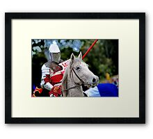 Medieval Knight On Horse Ready For Joust Framed Print