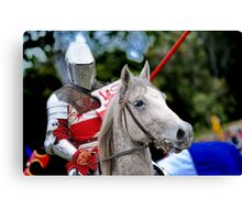 Medieval Knight On Horse Ready For Joust Canvas Print
