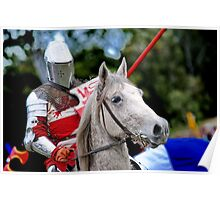 Medieval Knight On Horse Ready For Joust Poster