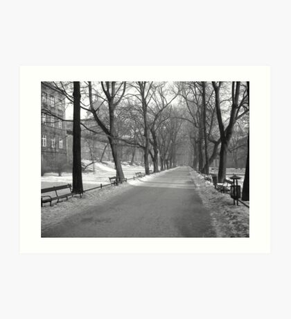 Krakow (Poland) in the winter months (Black and white) Art Print