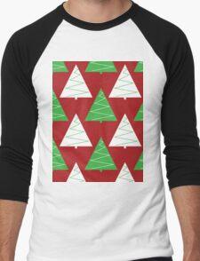 Red & Green Christmas Trees Men's Baseball ¾ T-Shirt