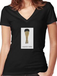 Corporate Ladder Women's Fitted V-Neck T-Shirt
