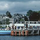 Tourist boat at wharf Bowness Lake District England 198405210008 by Fred Mitchell