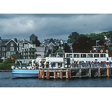 Tourist boat at wharf Bowness Lake District England 198405210008 Photographic Print