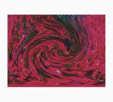Bold Magenta or Red Pink with Green Swirl Spiral Design Pattern Kids Clothes