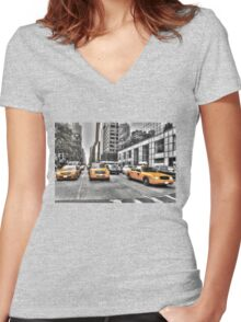 Yellow Taxis....New York City Women's Fitted V-Neck T-Shirt