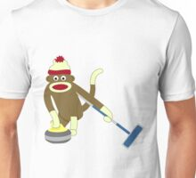 Sock Monkey Curling Unisex T-Shirt