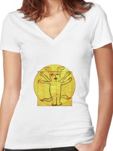 Dog Vinci  Women's Fitted V-Neck T-Shirt