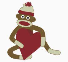 Sock Monkey Heart Kids Tee