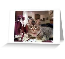 Antique Hall Tree is the perfect seat in the house for this kitty Lil' Greeting Card