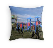 kids in the paddock Throw Pillow