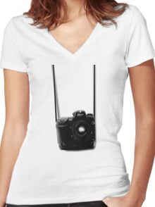 Camera shirt 2 - for Nikon users Women's Fitted V-Neck T-Shirt