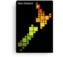 New Zealand Fun Map Canvas Print