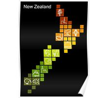 New Zealand Fun Map Poster