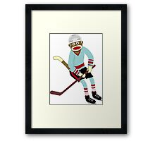 Sock Monkey Hockey Player Framed Print