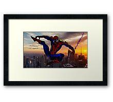 City Web Slinging Framed Print