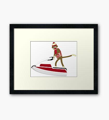Sock Monkey Jetski Framed Print