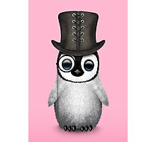 Cute Baby Penguin with Monocle and Top Hat on Pink Photographic Print