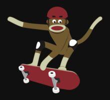 Sock Monkey Skateboarder One Piece - Short Sleeve