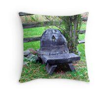 tree stump seating Throw Pillow