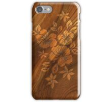 Lilikoi Hibiscus Faux Burl Wood Hawaiian Surfboard iPhone Case/Skin