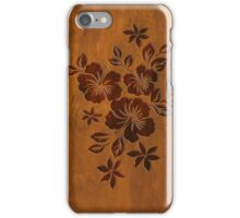 Lilikoi Hibiscus Faux Koa Wood Hawaiian Surfboard iPhone Case/Skin