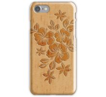 Lilikoi Hibiscus Faux Wood Hawaiian Surfboard iPhone Case/Skin