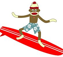Sock Monkey Surfer by pounddesigns