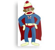 Sock Monkey Superhero Metal Print