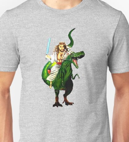 Jesus Riding a Dinosaur with a Lightsaber Unisex T-Shirt
