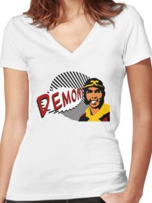 DEMON! Women's Fitted V-Neck T-Shirt