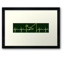 My heart beats for fishing (green) VRS2 Framed Print