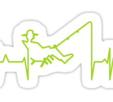My heart beats for fishing (green) Sticker